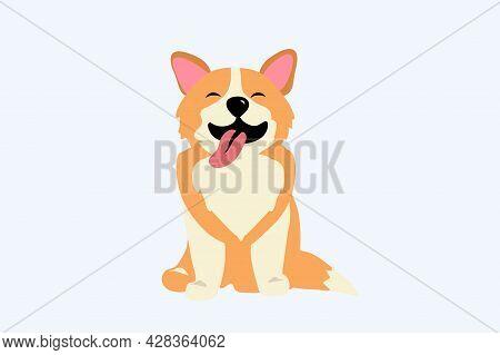 Happy Dog Smile Cute Smiling Welsh Corgi Dog Smile Face With Paw And Heart Shaped Nose Corgi Sitting