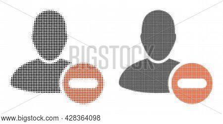Dotted Halftone Remove User Icon. Vector Halftone Collage Of Remove User Icon Done Of Round Items.