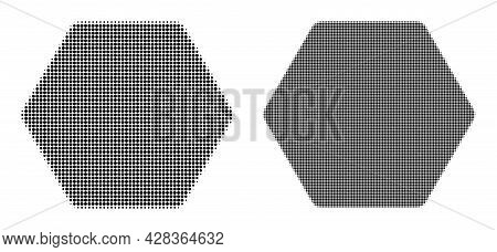 Dotted Halftone Rounded Hexagon Icon. Vector Halftone Composition Of Rounded Hexagon Icon Combined O