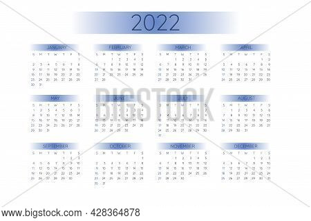 2022 Pocket Calendar Template In Strict Minimalistic Style With Gradient Elements, Horizontal Format