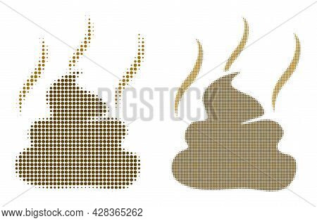 Dotted Halftone Shit Smell Icon. Vector Halftone Collage Of Shit Smell Icon Created Of Spheric Eleme