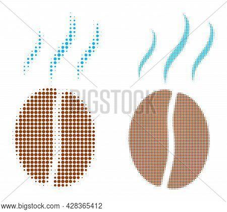 Pixel Halftone Smell Coffee Bean Icon. Vector Halftone Pattern Of Smell Coffee Bean Icon Organized O