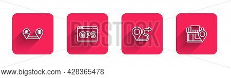 Set Line Route Location, Gps Device With Map, And Location Store With Long Shadow. Red Square Button