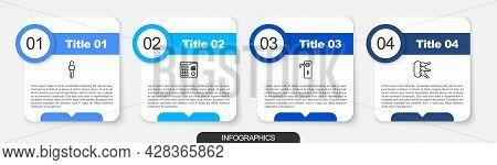 Set Line Unlocked Key, House Intercom System, Door Handle And Bunch Of Keys. Business Infographic Te