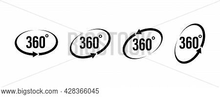 360 Degrees View . Set Of Circel Arrow. Vector Icon . Round Signs With Arrows Rotation To 360 Degree