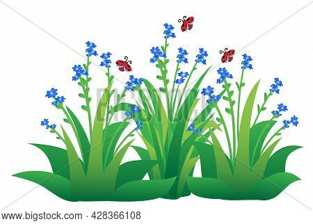 Cute Ladybirds Flying On Flowers And Grass, Isolated Cartoon Vector Illustration