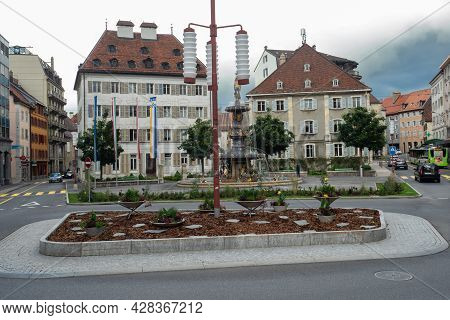 La-chaux-de-fonds, Switzerland - July 7th 2021: Central Square And Roundabout In The City Centre Wit