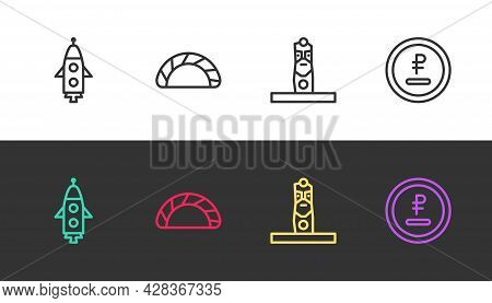 Set Line Rocket Ship, Dumpling, Slavic Pagan Idol And Rouble, Ruble Currency On Black And White. Vec
