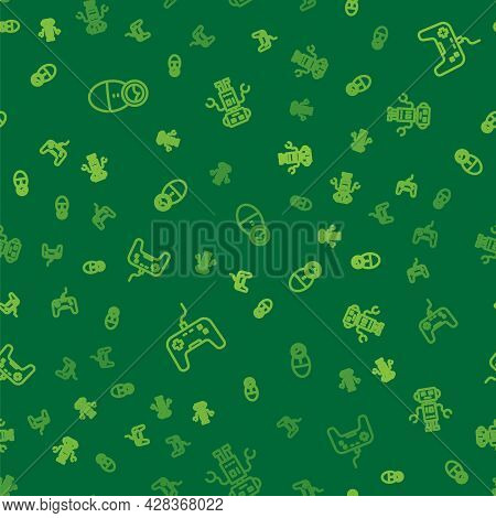 Set Line Tumbler Doll Toy, Gamepad And Robot On Seamless Pattern. Vector