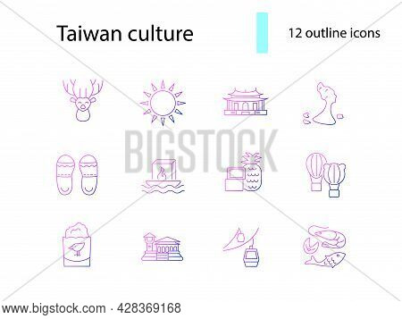 Taiwan Outline Icons Set. Taiwanes Attractions. Seafood And Chicken Kutlet. Water Lantern. Purple Gr