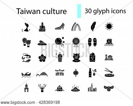 Oriental Culture Of Taiwan Glyph Icons Set. Taiwanese Attractions. Asian National Tradition. Black F