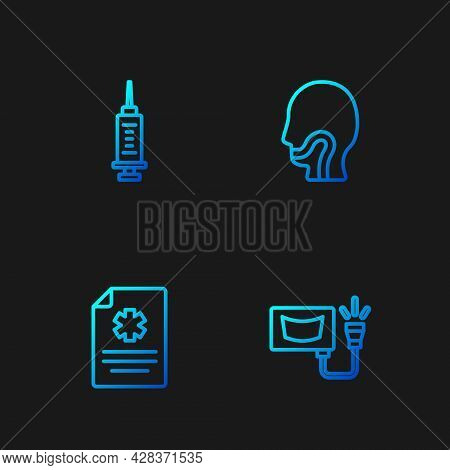 Set Line Ultrasound, Clinical Record, Syringe And Sore Throat. Gradient Color Icons. Vector