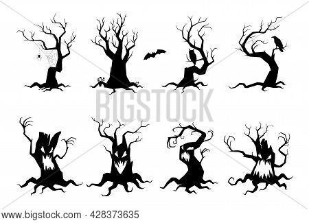 Set Simple Spooky Silhouettes Tree Vector Flat Illustration Monochrome Evil Curled Plants