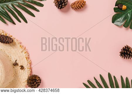 Creative Flat Lay Photo Of Travel Vacation Spring Or Summer Tropical Fashion. Top View Beach Accesso