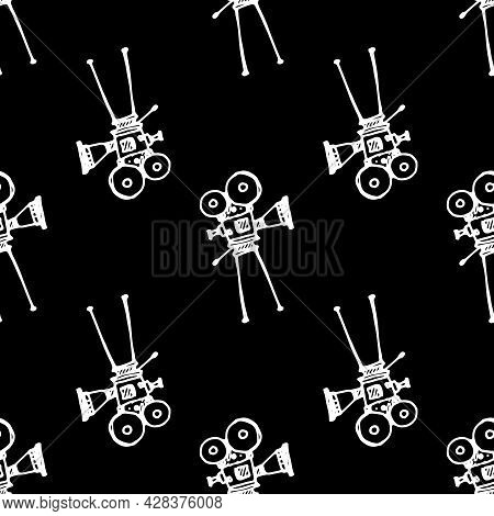 Vector Seamless Pattern From A Vintage Film Movie Camera On A Stand. A Pattern From A Doodle-style R