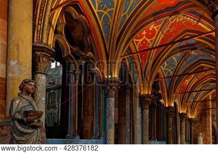 Strasbourg, France, June 24, 2021 : Painted Roof Of Saint-pierre-le-jeune Protestant Church. Gothic
