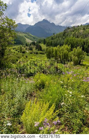 Scenic Mt Sneffels at Continental divide from scenic by way dirt road 7 near Ridgeway Colorado