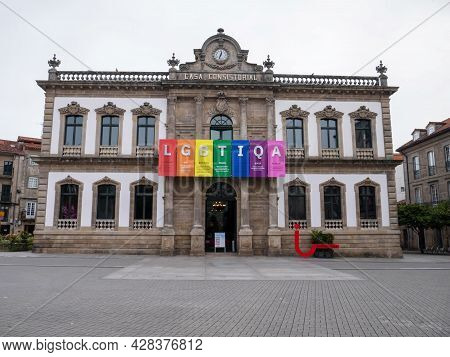 Pontevedra, Spain - July 25, 2021:  Town Hall Building Decorated With Lgbtqia Pride Flag Colors, Pon