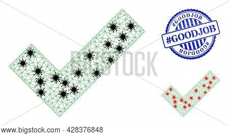 Mesh Polygonal Apply Tick Symbols Illustration With Lockdown Style, And Grunge Blue Round Hashtag Go