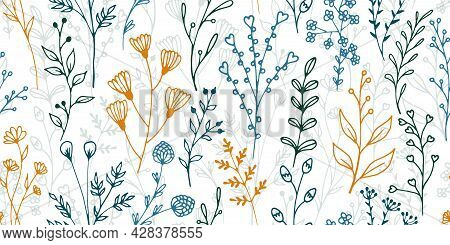 Field Flower Sprouts Botanical Vector Seamless Background. Gentle Floral Graphic Design. Meadow Plan