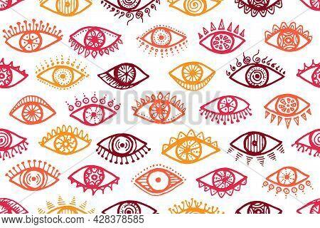 Doodle Open Eyes Minimal Seamless Pattern. Pop
