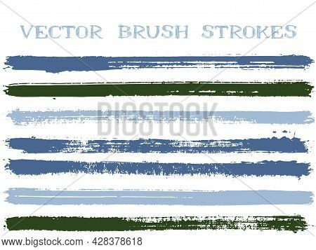 Hipster Ink Brush Strokes Isolated Design Elements. Set Of Paint Lines. Retro Ink Brushe Stripes Iso