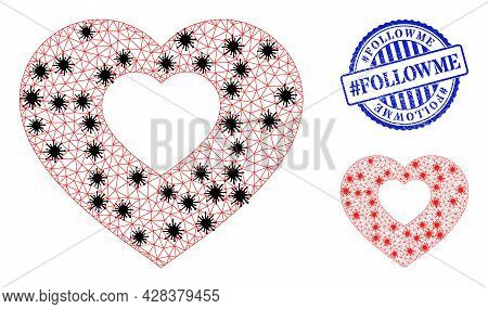 Mesh Polygonal Valentine Heart Icons Illustration With Infection Style, And Grunge Blue Round Hashta