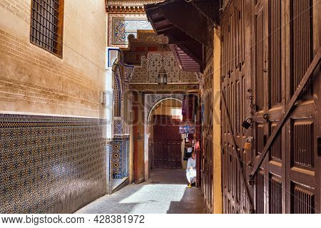 Fez, Morocco - June 02, 2017: One Of The Entrances Of The Zawiya Of Moulay Idris Ii (with The Tomb O