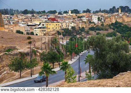 Fez, Morocco - June 02, 2017: View Of The Part Of The Fez El Bali Medina. Is The Oldest Walled Part