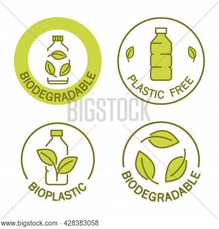 Biodegradable. Icon Of Plastic Bottle With Green Leaves. Plastic Free Stamp. Eco Friendly Compostabl