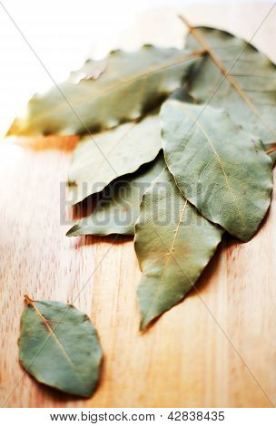 Closeup Of Bay Leaves On The Wooden Desk