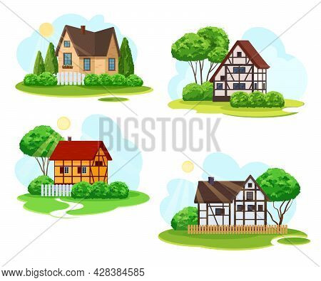 Four Rural Landscapes With Rustic Architecture. Cozy Village Houses With A Front Garden, Trees On Th