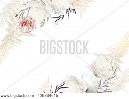Pastel Pampas Grass, Ivory Peony, Creamy Magnolia, Dusty Rose, Silver Dried Leaves.
