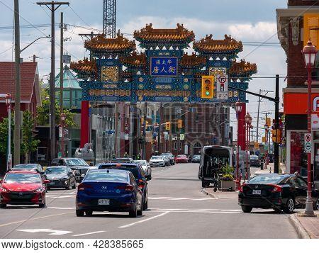 Ottawa, Ontario, Canada. July 2021. The Chinatown Gate In Ottawa