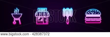 Set Line Barbecue Grill, Shopping Building, Steel Grid And Burger. Glowing Neon Icon. Vector
