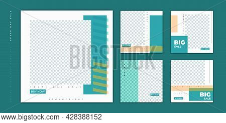 Set Of Social Media Post Template. Social Media Template With Green White Square Background For Worl