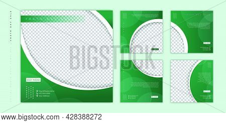 Set Of Social Media Post Template. Social Media Template With Green  Background For World Youth Day