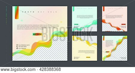 Set Of Social Media Post Template. Social Media Template With Colorful Background For World Youth Da