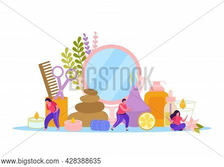 Aromatherapy Flat Colored Composition With Set Of Essential Oils Incense Candles Wildflowers And Her