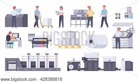 Printing House Polygraphy Cartoon Icon Set With Paper Rolls Color Print Cartridges Large Technical P
