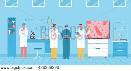 Scientists Are Conducting A Microbiological Scientific Conference In The Laboratory Flat Vector Illu