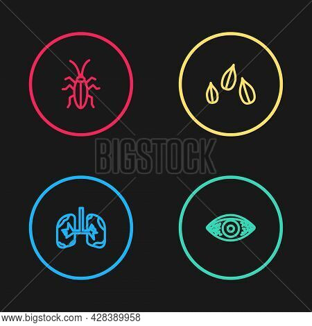 Set Line Lungs, Reddish Eye Allergic Conjunctivitis, Sesame Seeds And Cockroach Icon. Vector