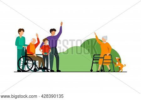 Nursing Home Characters Concept An Elderly Woman Greets Visitors Of Her Acquaintance Vector Illustra