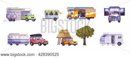 Camping Trailer Car Caravan Motor Home With Equipment For Outdoor Vacation Flat Set Isolated Vector