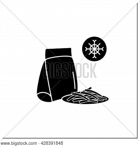 Frozen French Fries Glyph Icon.sliced Potatoes In Package.portion Control, Protection, Tampering Res