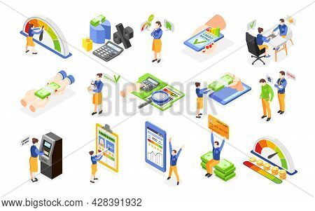 Credit Score History Report Characters Of Loan Debtors Isometric Icons Set Isolated On White Backgro
