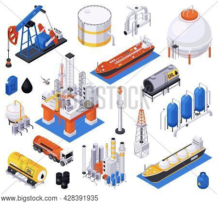 Oil Petroleum Industry Isometric Set Of Isolated Icons With Processing And Storage Facilities With C