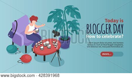 Blogger Isometric Banner With Blogger Day Celebration Symbols Vector Illustration