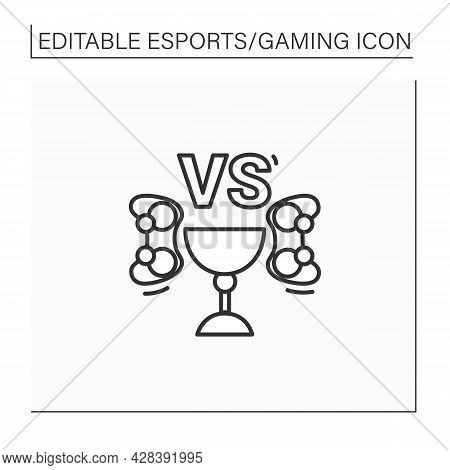 Esports Tournament Line Icon. Competition Between Two Teams. Fight For Prizes. Cybersport Concept. I