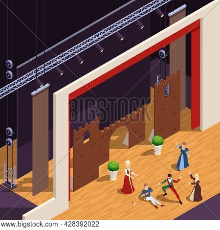 Grand Theatre Isometric Background With Classic Performance Symbols Vector Illustration